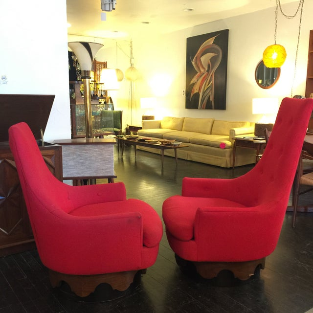 Image of High Back Swivel Chairs by Adrian Pearsall - Pair