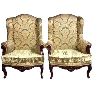 Vintage Chairs With Winged Back - A Pair