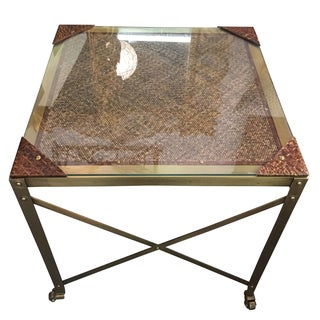 Textured Fiber X-Frame Tables - A Pair