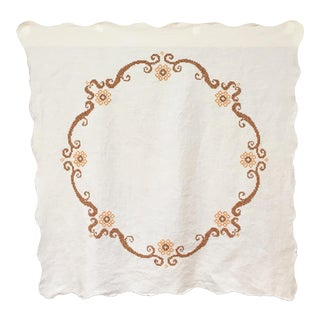 Vintage White & Brown Embroidered Tablecloth