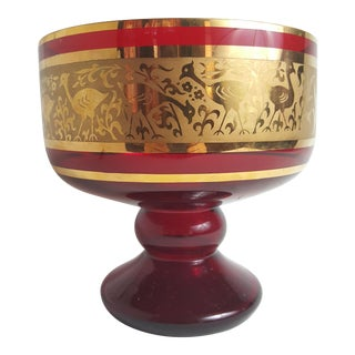 Red Trifle Dish With Gold Embellishment