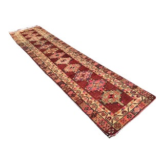 Vintage Hand Knotted Turkish Rug - 3′2″ × 11′7″