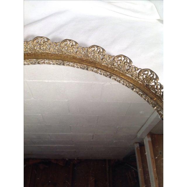 Ornate Mid-Century Brass Mirrored Tray - Image 3 of 4