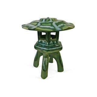 1950s Green Ceramic Pagoda Lamp