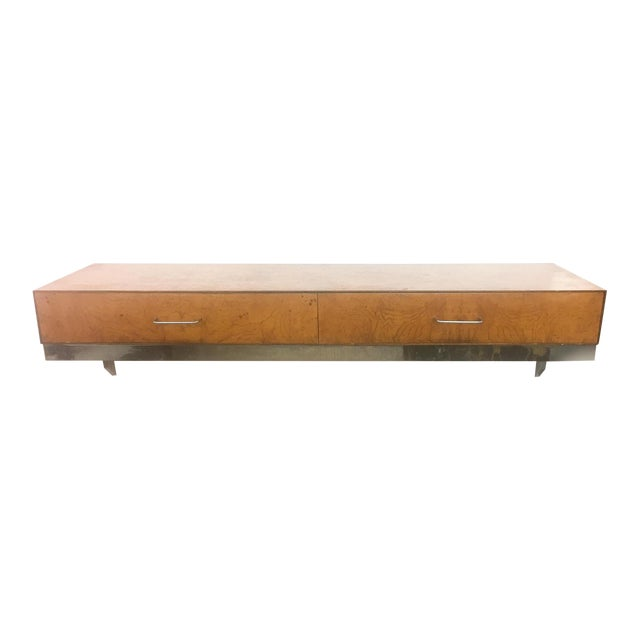 Mid-Century Burlwood Floating Console Table, Desk - Image 1 of 10