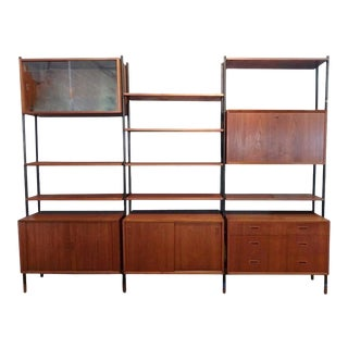 Arne Vodder Attributed Steel Frame Danish Teak Modular Wall Unit Room Divider