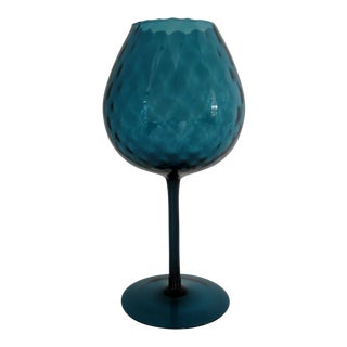 Vintage Teal Goblet Vase