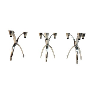 Heirloom Silver Tripod Candle Holders - Set of 3