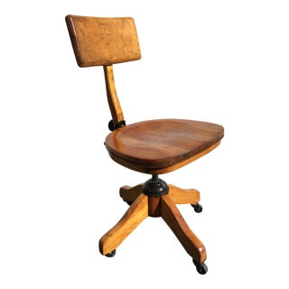 Antique Wood Task Office Chair