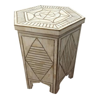 Bone and Brass Inlay Side Table with Geometric Modern Design