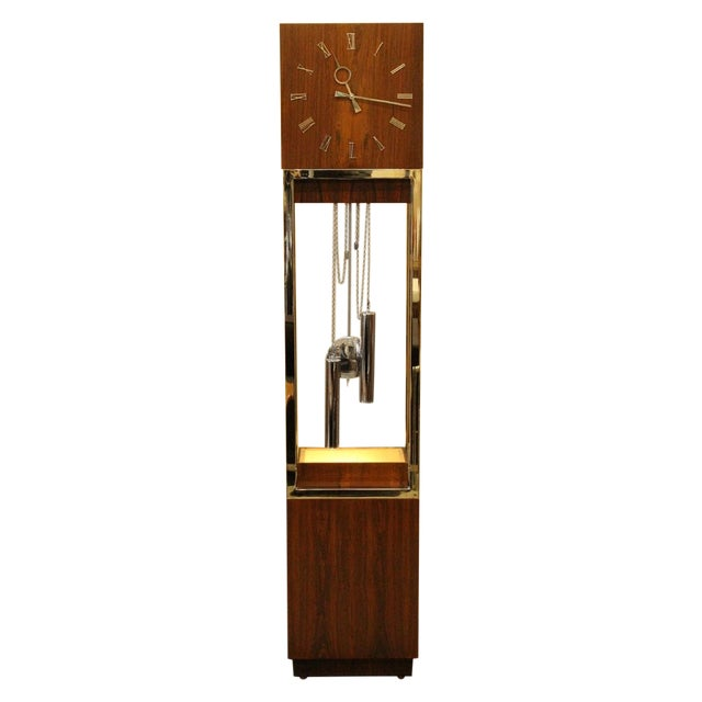 Mid-Century Rosewood & Chrome Grandfather Clock - Image 1 of 5