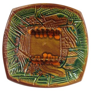 Mid-Century Tiki Ceramic Ashtray 1960s