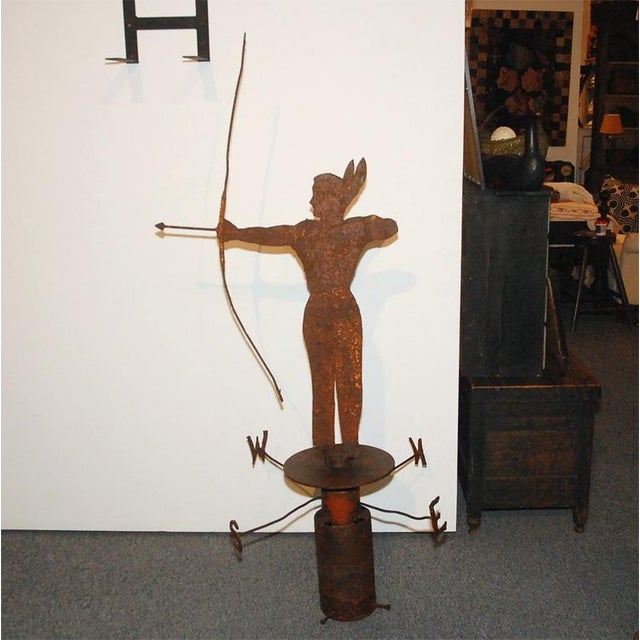 Rare 19th Century Original Painted Iron Indian Weathervane with Stand - Image 2 of 8