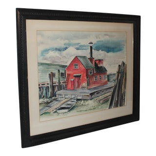"Mid Century Red Barn Water Color Signed ""M. Scott"""