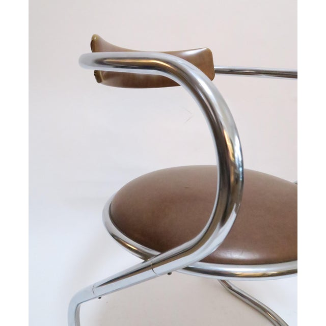 Chrome Deco Faux Leather Accent Chair - Image 5 of 7