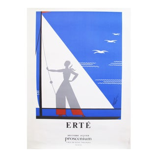 1978 Erte Exhibition Poster, Art Deco Sailing