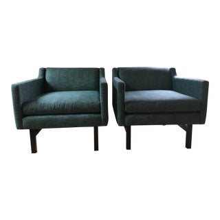 Clad Home Custom Teal Upholstered Lounge Chairs - a Pair