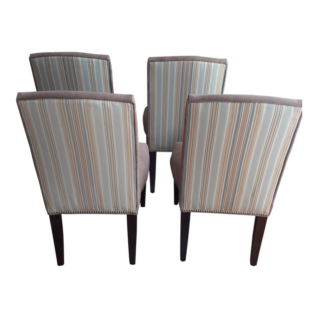 Image of Lee Industries Upholstered Dining Chairs With Accent Fabric on Back - Set of 4