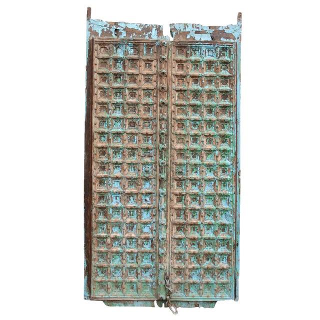 Teak & Iron Turquoise Doors - a Pair - Image 1 of 7