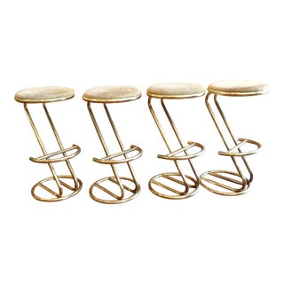 Brass Plated Cantilevered Bar Stools - Set of 4
