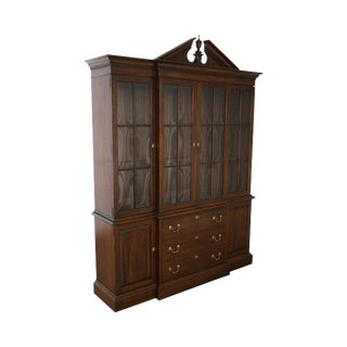 Ethan Allen Georgian Court Solid Cherry Chippendale Style Breakfront