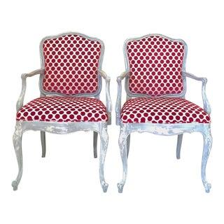 Gustavian Cut Velvet Chairs - A Pair