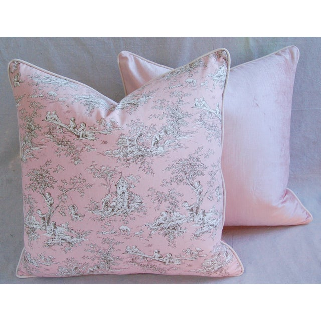 Designer French Pink Toile & Velvet Feather/Down Pillows - Pair - Image 5 of 11