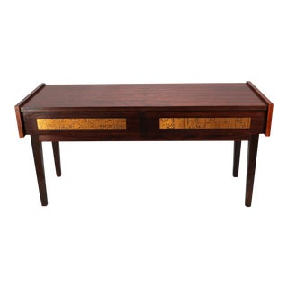 Danish Teak Side Table with Copper Inlay