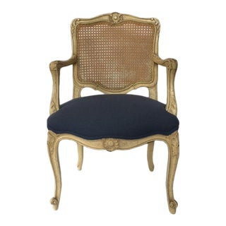 Vintage Caned Back French Style Fauteuil