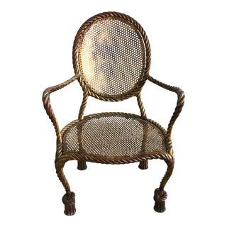 Vintage Italian Tole Metal Rope Chair