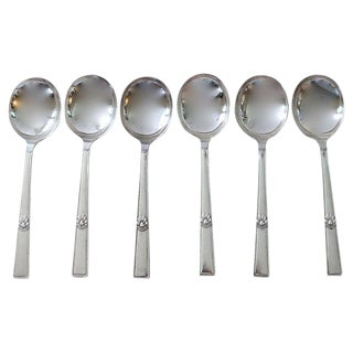 Walker & Hall Art Deco Soup Spoons - Set of 6