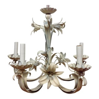 Mid-Century Italian Tole Lily Chandelier