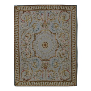 French Aubusson Design Hand Woven Gray Wool Rug - 8' X 10'