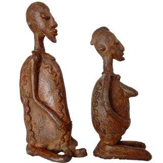 Stone & Bronze Malian Couple Sculptures - A Pair