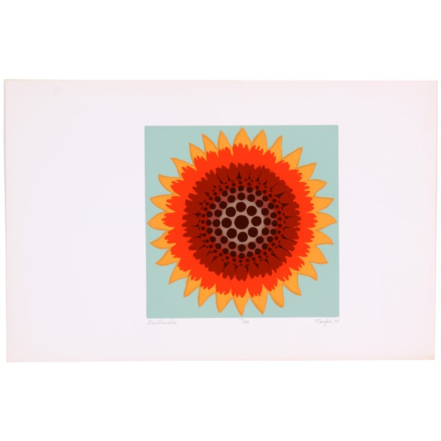Gaillardia Abstract Screen Print by T. Confer, '75 - Image 1 of 7