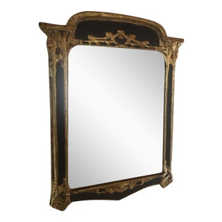 Vintage Art Deco Hollywood Regency Black & Gold Wall Mirror