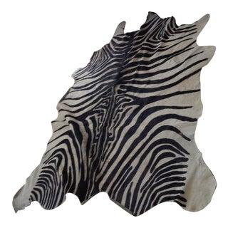"Zebra Print Cow Hide Rug - 6'2"" X 6'8"""