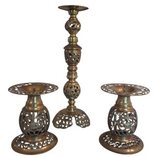Reticulated Brass Candle Holders - Set of 3