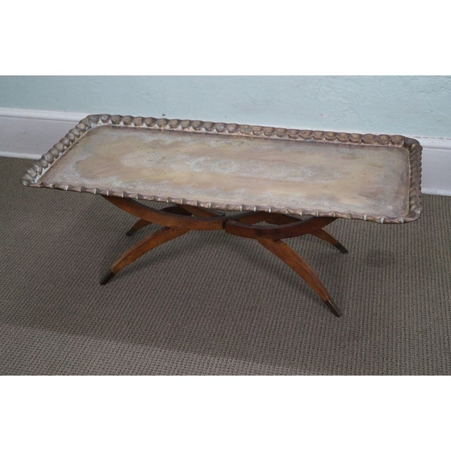 Incised Brass Scalloped Tray Top Coffee Table - Image 2 of 10