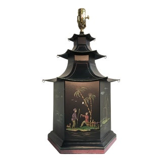Tole Pagoda Lamp Painted With Colorful Chinoiserie Figurines & Landscape
