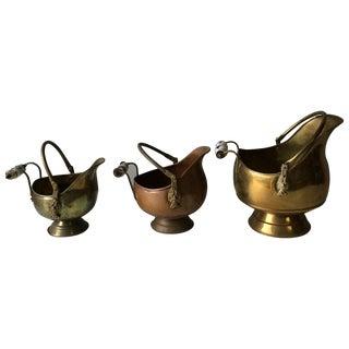 Vintage Brass Scuttles - Set of 3