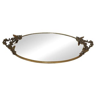Vintage Gilt Butterfly Vanity Mirror Tray