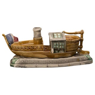 Barbotine Ceramic Boat and Cover, France c.1885