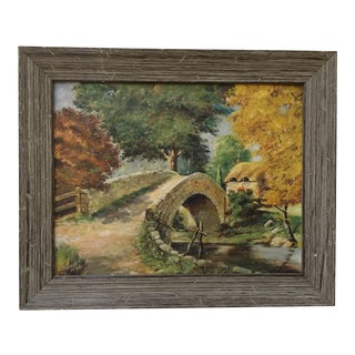 English Stone Bridge Oil Painting
