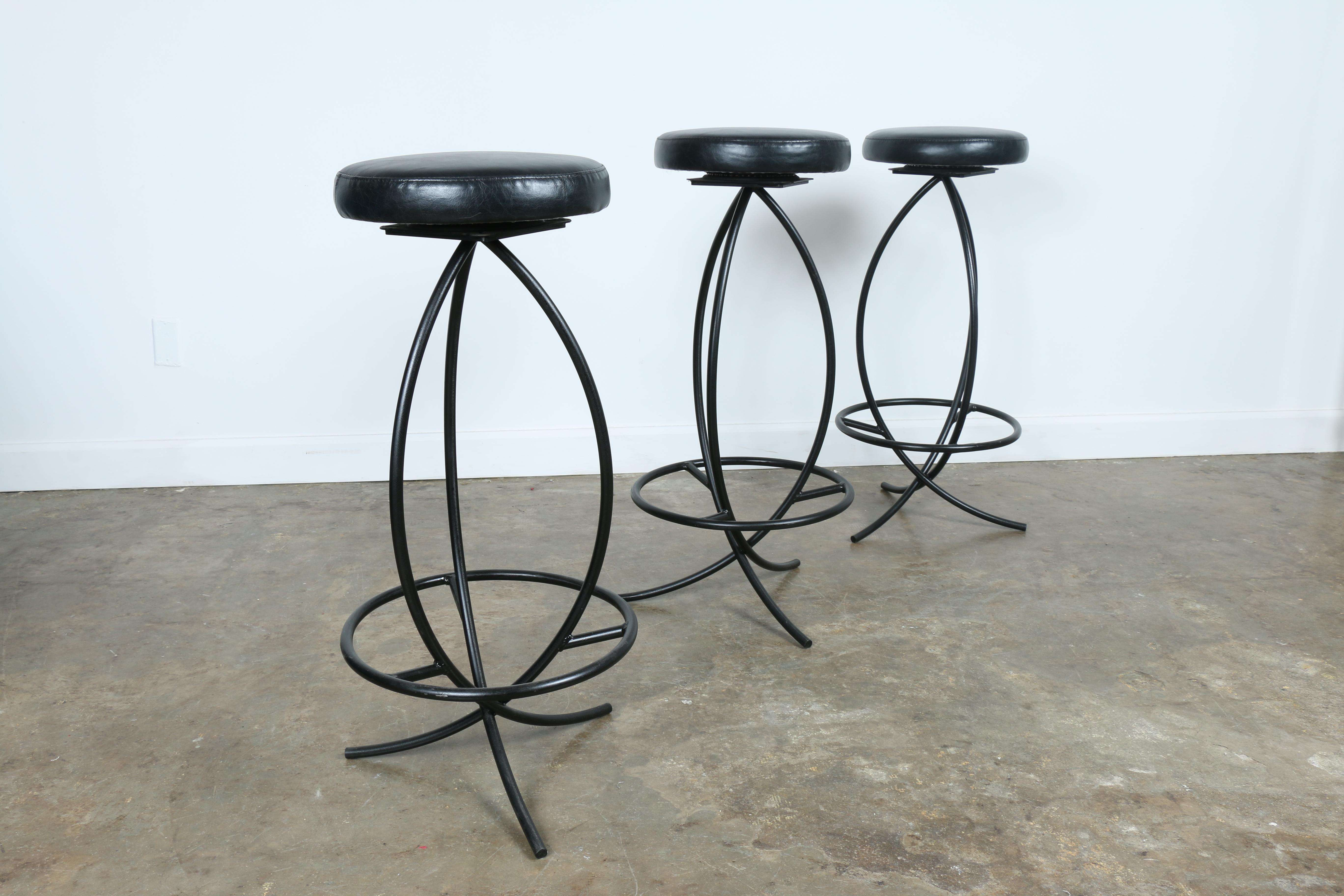 Wrought Iron Leather Seat Bar Stools Set Of 3 Chairish