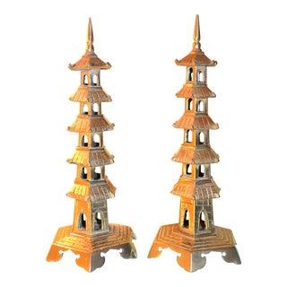 Chinoiserie Twin Brass Pagoda Statues