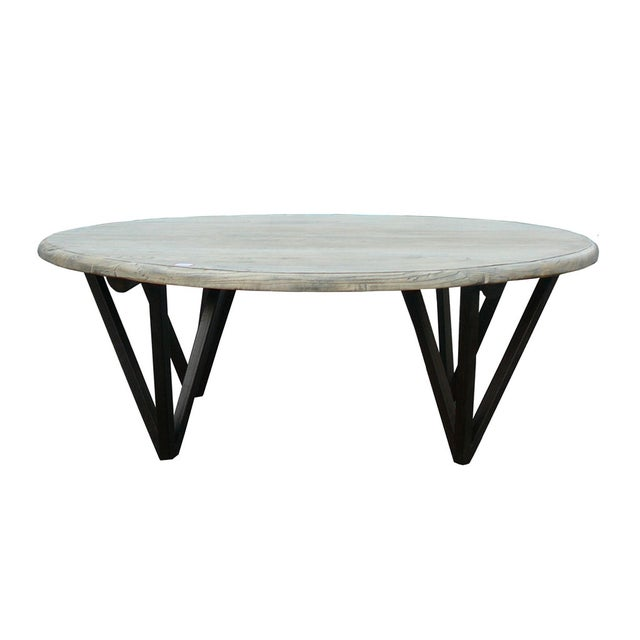 Solid wood low round coffee table with iron legs chairish for Low coffee table wood