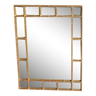 Maison Bagues French Art Deco/ Hollywood Regency Gilt Steel Faux Bamboo Wall Mirror