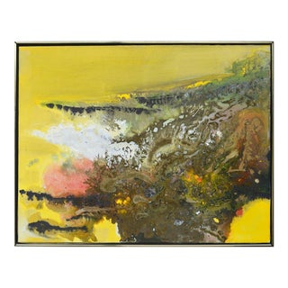 Sausalito Sunset Abstract Expressionist Oil Painting, 1969