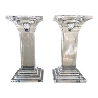 Art Deco Crystal Decor Pillar Candle Holders - A Pair